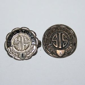 two sterling silver HONOR STUDENT pins